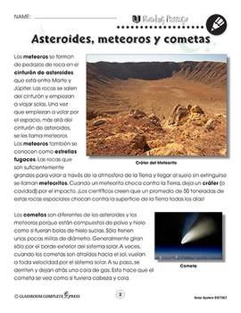 El Sistema solar: Asteroides, meteoros y cometas