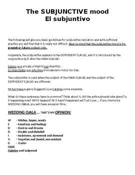 El Subjuntivo - Subjunctive Mood - WEDDING OJALA