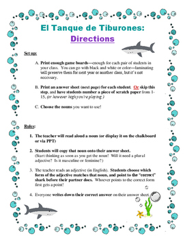 El Tanque de Tiburones: Spanish Noun - Adjectives Agreement Game