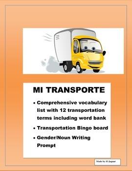 El Transporte- Transportation- Color Bingo Game in Spanish