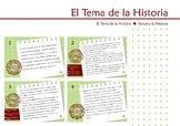 El Tema la Historia, tarjeta de tarea. Spanish Theme of th