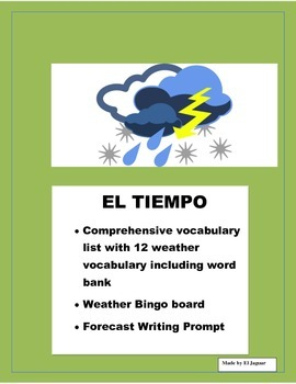El Tiempo-  Color Bingo Board and 7 Day Forecast Weather Project in Spanish