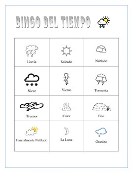 El Tiempo-  Color Bingo Board and 7 Day Forecast Weather Project in Spanish