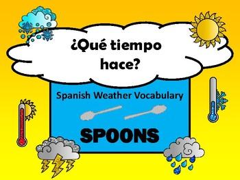 El Tiempo- Spoons Weather Spanish Vocabulary Card Game