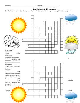 El Tiempo Weather Expressions Crossword Puzzle