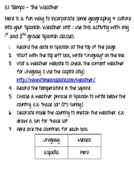 El Tiempo del Mundo- Spanish Weather/ Geography Activity