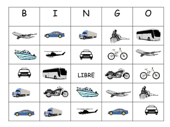 El Transporte Bingo – Transportation Vocabulary in Spanish