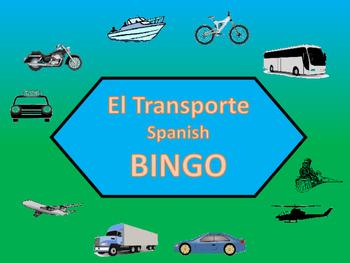 El Transporte Bingo – Transportation Vocabulary in Spanish