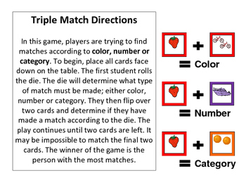 El Transporte-Le Zoológico-La Fruta -Triple Match Spanish Vocabulary Card Game