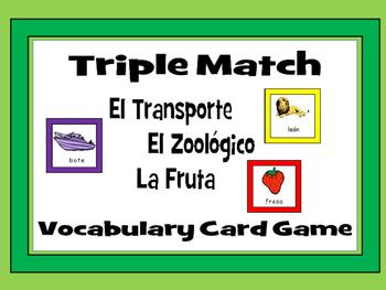 El Transporte-Le Zoológico-La Fruta -Triple Match Spanish