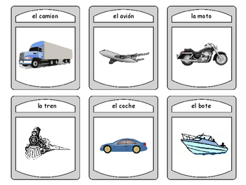 El Transporte Spoons Card Game -The Transportation Vocabulary in Spanish
