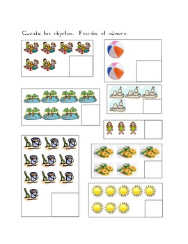 Verano (Summer in Spanish) counting worksheets