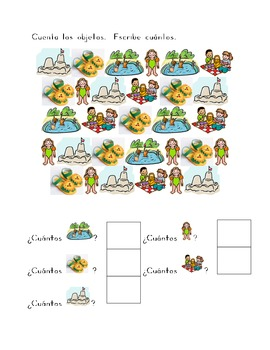 El Verano (Summer in Spanish) counting worksheets