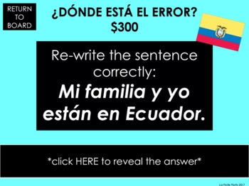 El Verbo ESTAR Jeopardy-Style Trivia Game