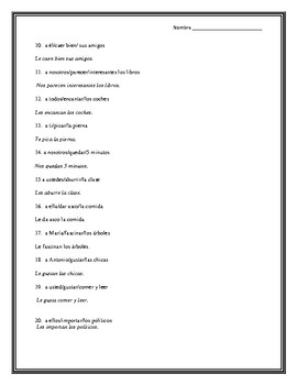 El Verbo Gustar y Verbos Similares, Gustar and similar verbs 2