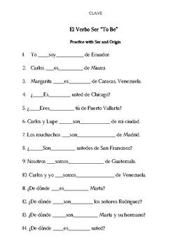 El Verbo Ser with Origin, Colors and Relationships (3) Present Tense Worksheets