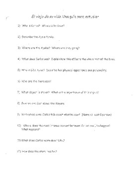 El Viaje De Su Vida Study Guide Questions By Spanish English Profe