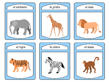 El Zoológico Spoons Card Game – Zoo Animals Vocabulary in Spanish