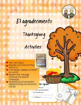 El agradecimiento ~ Thanksgiving Activities