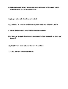 El ahogado más hermoso del mundo (questions to help students analyze story)