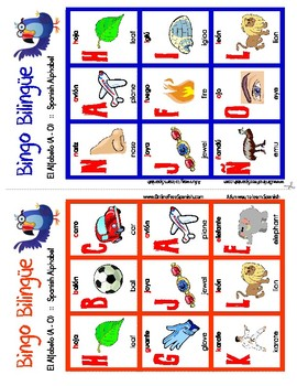 El alfabeto - The Alphabeth - Bingo Bilingüe - Bilingual bingo - A to O
