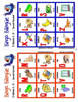 El alfabeto - The Alphabet - Bingo Bilingüe - Bilingual bingo - L to Z