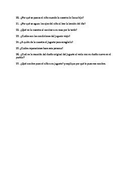 El caballito cojo - Reading comprehension questions Spanish Language