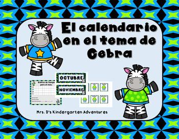 El calendario en el tema de Cebra