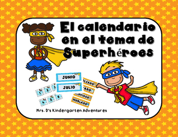 El calendario en el tema del Superhéroes