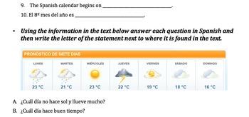 El calendario y tiempo/ The calendar and weather Assessment