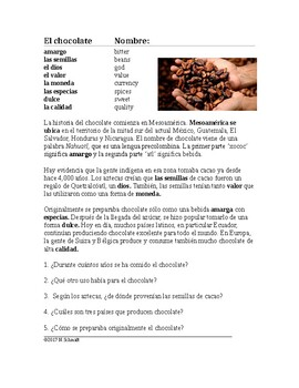 El chocolate Lectura - Spanish Reading on Chocolate