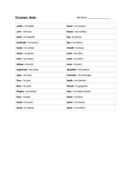 El cuerpo - Vocab List