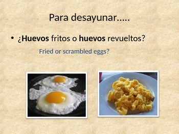 El desayuno / what do you have for breakfast in Spanish.