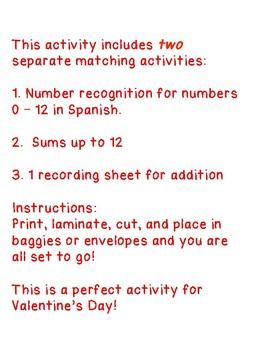Centro de Matemáticas para el día de San Valentín  - Números y sumas hasta 12