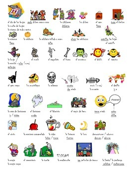 El dia de brujas- Vocabulary sheet; Halloween vocabulary sheet in Spanish.