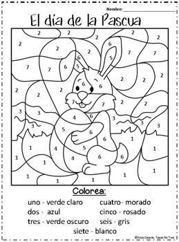 El dia de la Pascua Color by Number