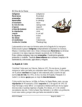 El Día de la Raza / Día de la Hispanidad Lectura y Cultura: Columbus Day Reading