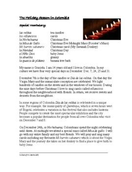 El día de las velitas and Navidad - Hispanic Cultural Reading (English Version)