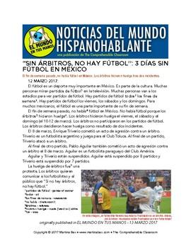 El fútbol en las noticias: 10 news articles in Spanish from 2016-2017