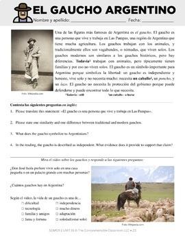 Spanish 1 Storytelling Unit 16: El gaucho