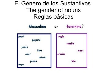 El género de los sustantivos (The gender of nouns)