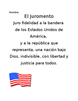 photograph relating to Pledge of Allegiance in Spanish Printable titled Spanish Pledge Of Allegiance Worksheets Instruction Materials