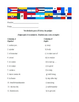 El león y las pulgas (vocabulary activity)