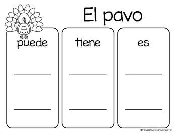 El pavo/Los pavos Graphic Organizer