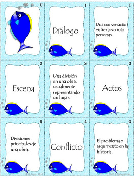 Drama Elements Vocabulary Game (Old Maid Version) - Drama Vocabulario Spanish.