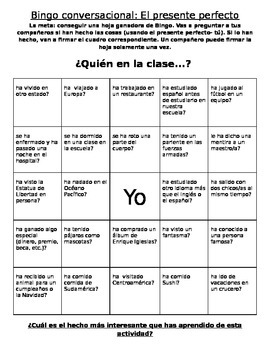 El presente perfecto: Present Perfect Bingo Activity