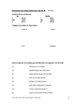 El Pretérito: A 9 Page Packet to Practice or Review the Past Tense in Spanish