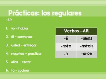El preterito PowerPoint introduction - the preterite tense in Spanish