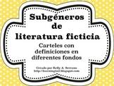Fiction Genres Posters in Spanish / Subgéneros de literat