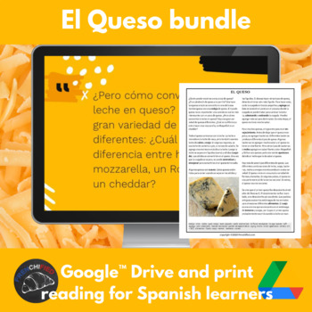 El queso - reading for int. Spanish - printable & Google drive